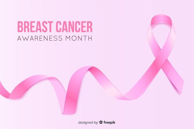 Realistische lint borstkanker bewustzijn maand Gratis Vector