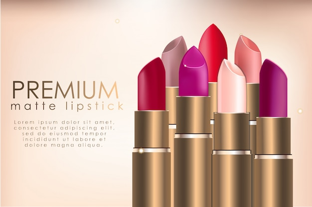 Realistische lippenstift-advertentiesjabloon Premium Vector