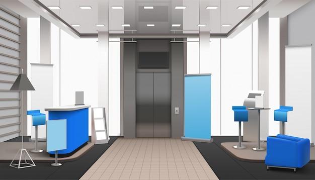 Realistische lobby interieur blauwe elementen Gratis Vector