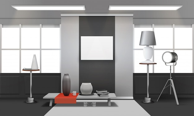Realistische loft interieur Gratis Vector