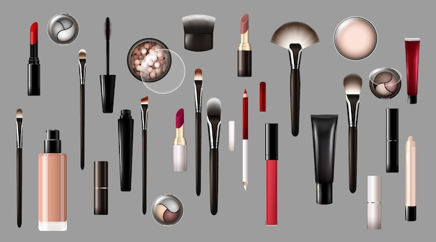 Realistische make-up producten collectie Gratis Vector