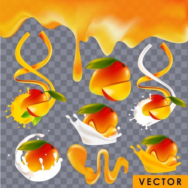 Realistische mango-gearomatiseerde producten Premium Vector