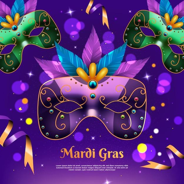 Realistische mardi gras-illustratie met kleurrijk masker Gratis Vector
