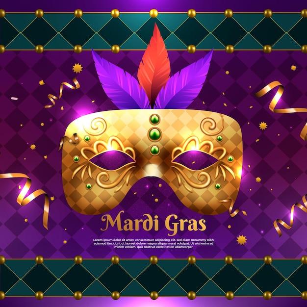 Realistische mardi gras-illustratie met masker Gratis Vector