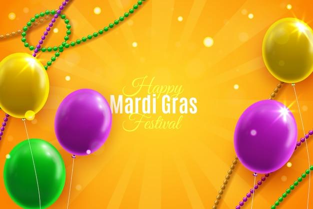 Realistische mardi gras met ballonnen Gratis Vector