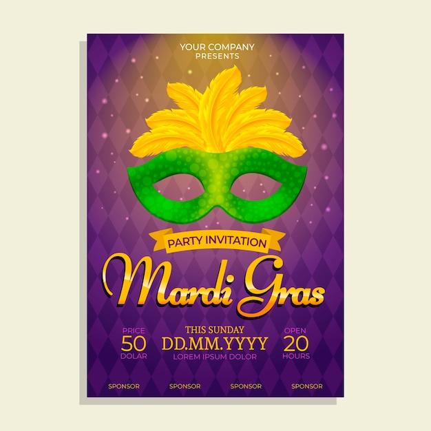 Realistische mardi gras poster sjabloon Gratis Vector