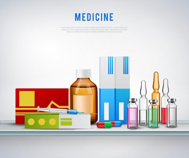Realistische medicatie voorbereidingen achtergrond Gratis Vector