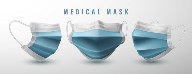 Realistische medische gezichtsmasker set Premium Vector