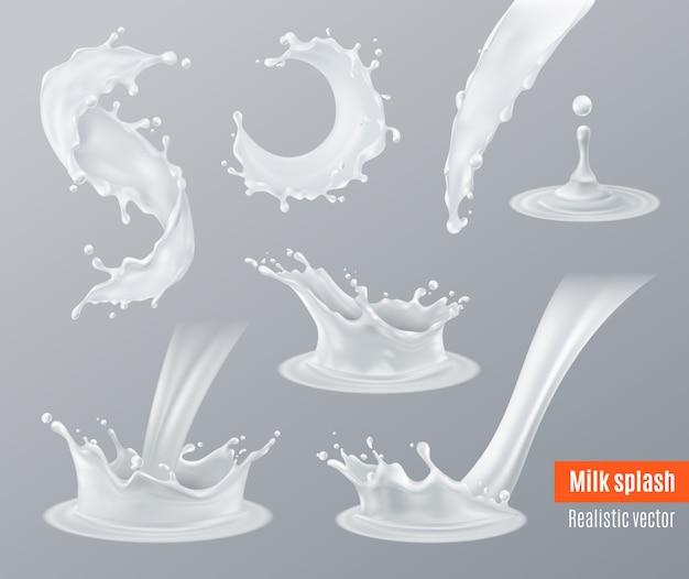 Realistische melk spatten set Gratis Vector