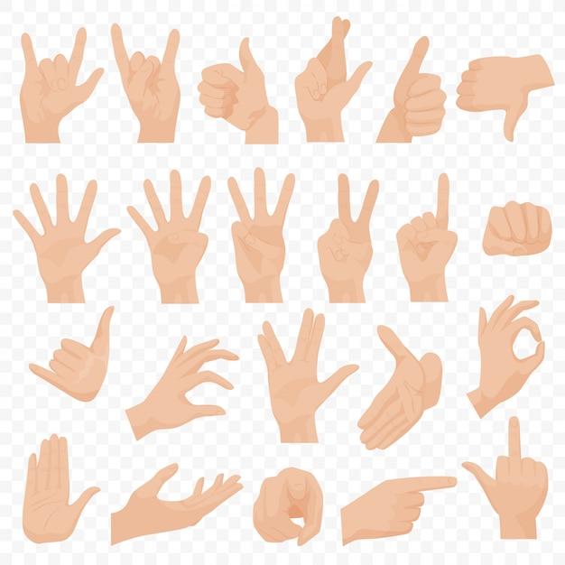 Realistische menselijke handen gebaren instellen Premium Vector