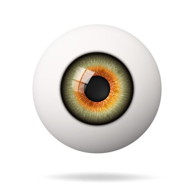 Realistische menselijke oogbol. het netvlies is de voorgrond. Premium Vector