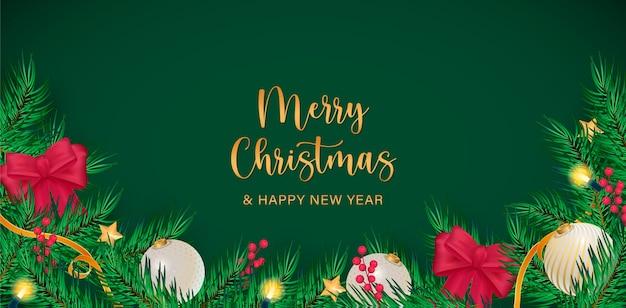 Realistische merry christmas-achtergrond Gratis Vector