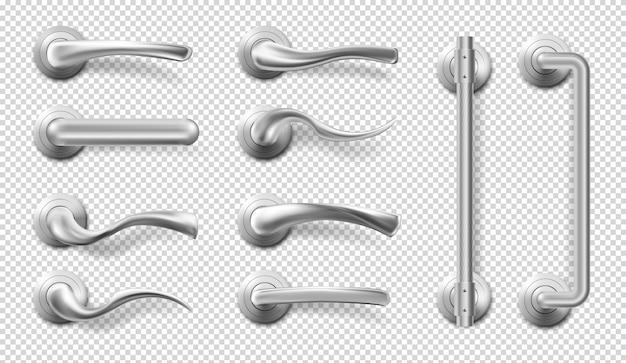 Realistische metalen deurgrepen en trekt Gratis Vector