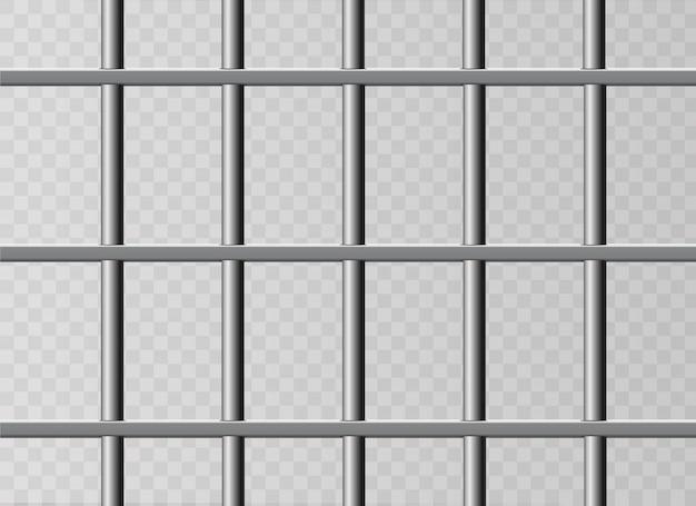 Realistische metalen gevangenisroosters. geïsoleerd op een transparante achtergrond. Premium Vector