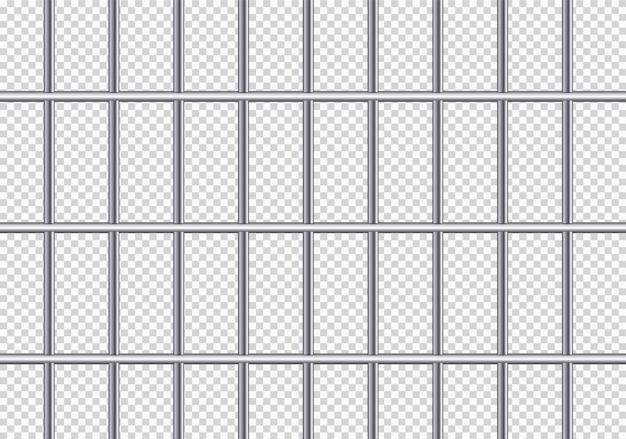 Realistische metalen gevangenisroosters. ijzeren gevangeniscel. Premium Vector
