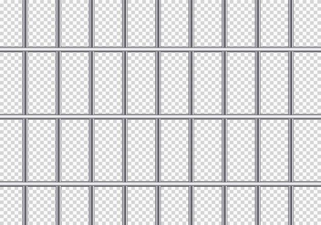 Realistische metalen gevangenisroosters Premium Vector
