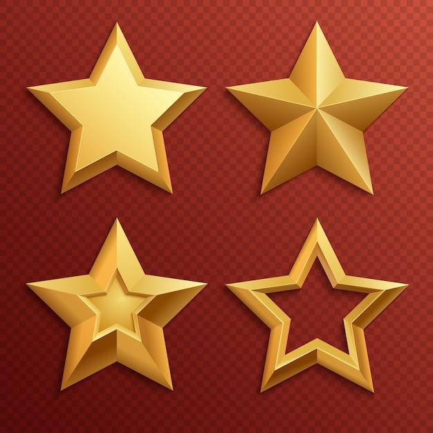 Realistische metalen gouden sterren geïsoleerd voor waardering en vakantie decoratie vector set. illustratie van sterdecoratie voor toekenningsbeoordeling Premium Vector