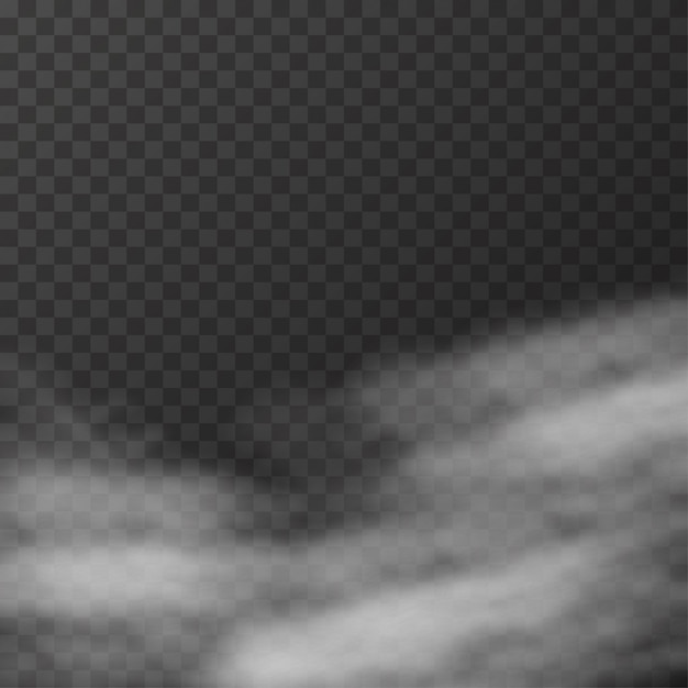 Realistische mist of rook op transparant Premium Vector