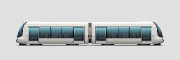 Realistische moderne elektrische trein Premium Vector