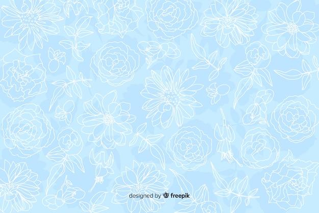 Realistische monochrome bloemen op pastel achtergrond Gratis Vector