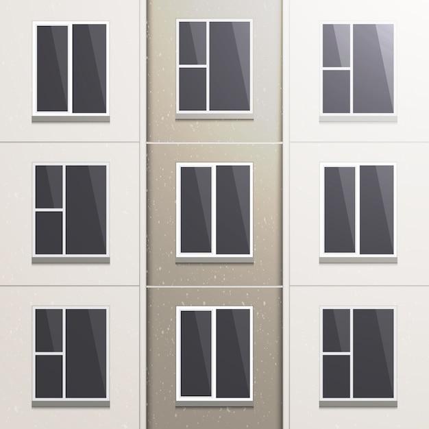 Realistische muur van een paneelgebouw met meerdere verdiepingen. Premium Vector