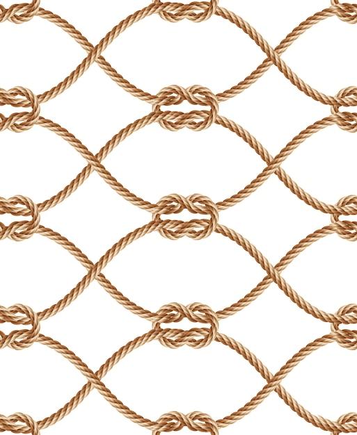 Realistische naadloze patroon met bruin gedraaide touwen en lussen. Gratis Vector