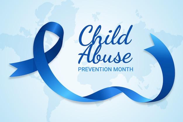 Realistische nationale kindermishandeling preventie maand illustratie Gratis Vector