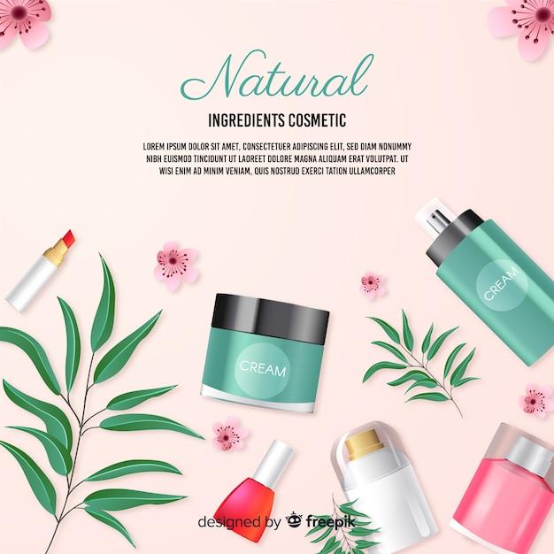 Realistische natuurlijke cosmetische advertentie poster Gratis Vector
