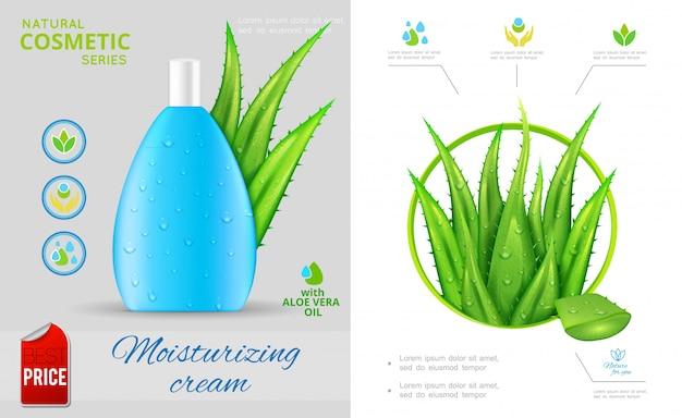 Realistische natuurlijke cosmetische samenstelling met aloë vera plant en fles vochtinbrengende crème Gratis Vector