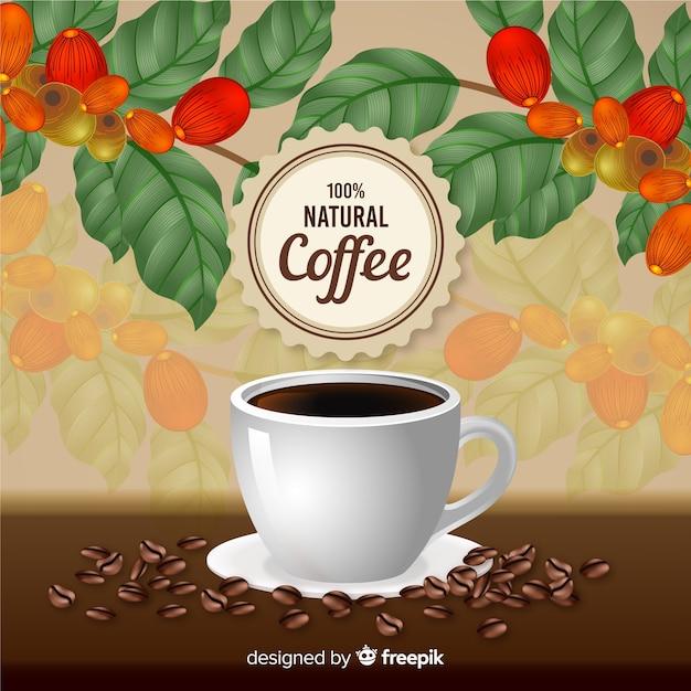 Realistische natuurlijke koffie-advertentie in vintage stijl Gratis Vector