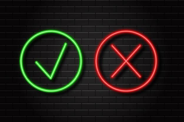 Realistische neon retro tekens van teek en kruis voor decoratie en bekleding op de muurachtergrond. Premium Vector