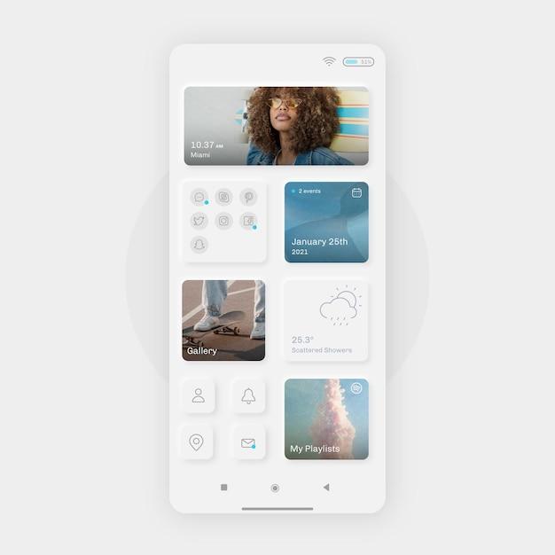 Realistische neumorfe startschermsjabloon voor smartphone Gratis Vector