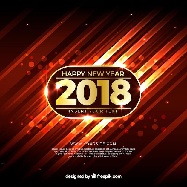 Realistische nieuwe jaar 2018 achtergrond met warme kleuren Gratis Vector