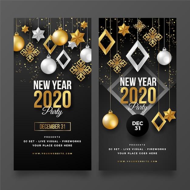 Realistische nieuwjaar 2020 feestbanners Gratis Vector