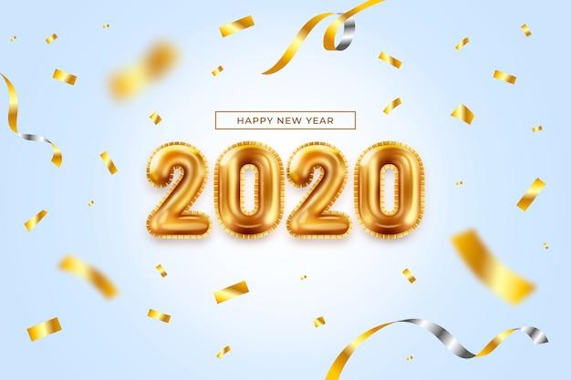 Realistische nieuwjaar ballonnen achtergrond Gratis Vector