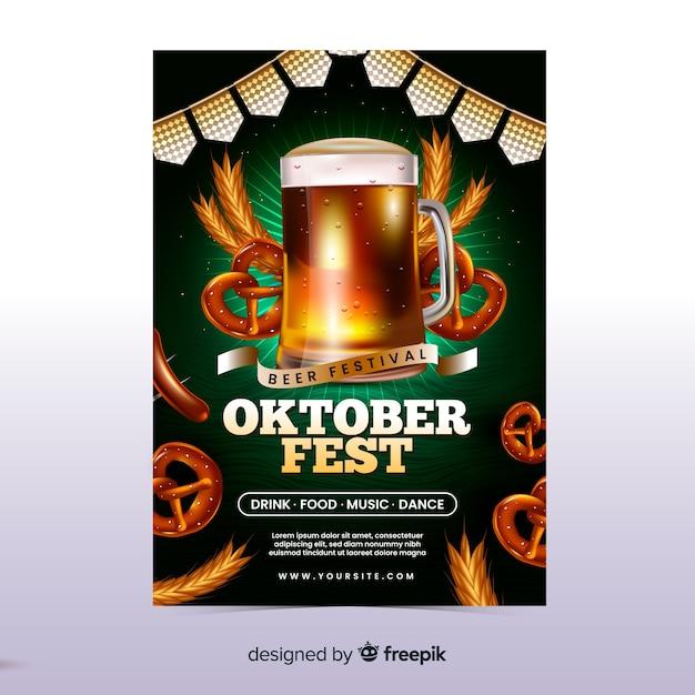 Realistische oktoberfest poster sjabloon Gratis Vector