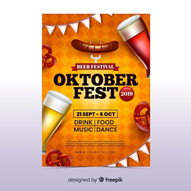 Realistische oktoberfest sjabloon folder Gratis Vector