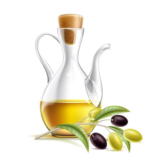 Realistische oliekan met olijftak. premium vierge olijfolie in glazen fles. Premium Vector