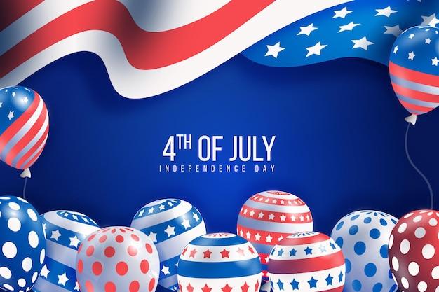 Realistische onafhankelijkheidsdag ballonnen achtergrond Gratis Vector