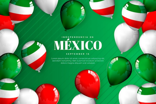 Realistische onafhankelijkheidsdag van de achtergrond van mexico met ballons Gratis Vector