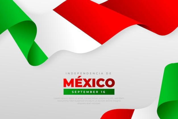 Realistische onafhankelijkheidsdag van de achtergrond van mexico met vlaggen Gratis Vector