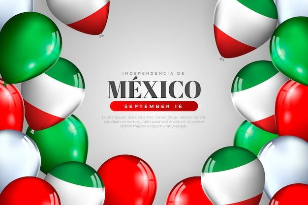 Realistische onafhankelijkheidsdag van de achtergrond van mexico Gratis Vector