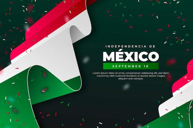 Realistische onafhankelijkheidsdag van mexico behang met vlaggen Gratis Vector
