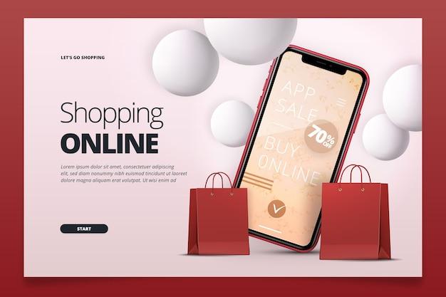 Realistische online bestemmingspagina voor winkelen Gratis Vector