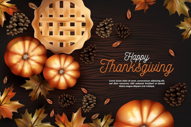 Realistische ontwerp thanksgiving achtergrond Gratis Vector