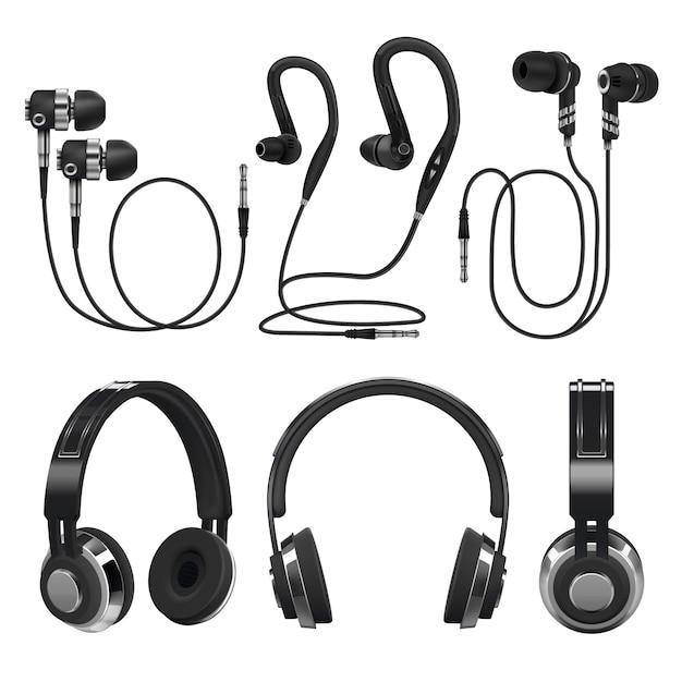 Realistische oortelefoons, draadloze en draadgebonden muziekhoofdtelefoons. 3d-vector illustratie geïsoleerd Premium Vector