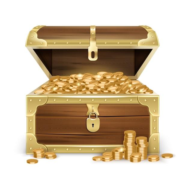 Realistische open oude houten kist met gouden munten en slot op geïsoleerde wit Gratis Vector