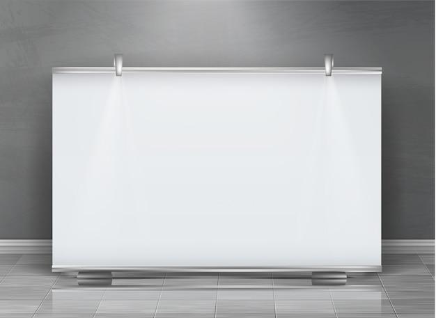 Realistische oprolbare banner, horizontale standaard, leeg reclamebord voor tentoonstelling Gratis Vector