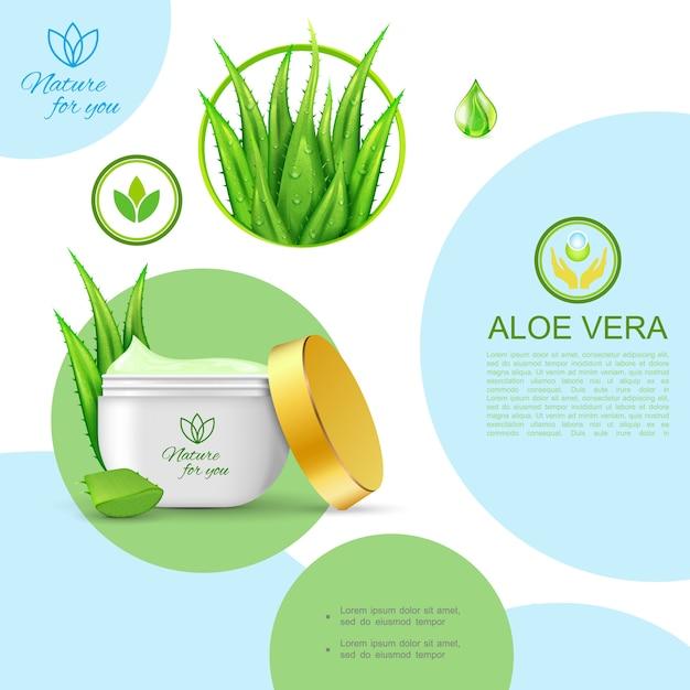Realistische organische natuurlijke cosmetische sjabloon met pakket van huidverzorging, gezonde crème en aloë vera plant Gratis Vector