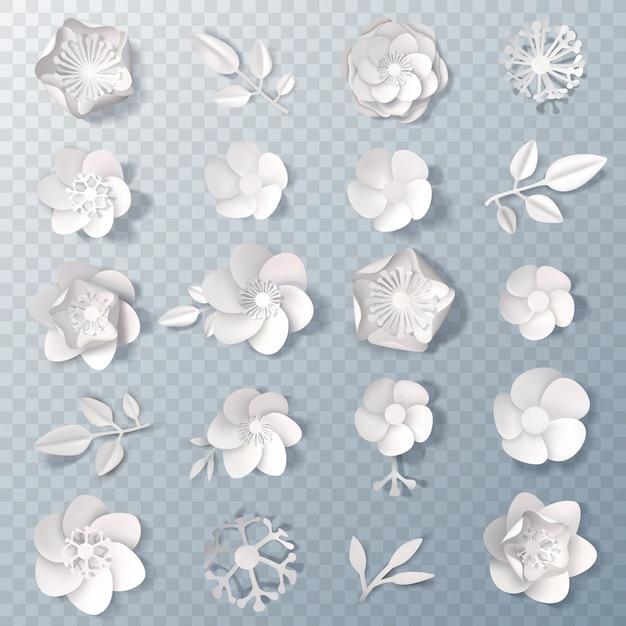 Realistische papieren bloemen transparante set Gratis Vector